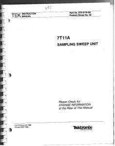 MANUAL : TEKTRONIX – 7T11A SAMPLING SWEEP UNIT